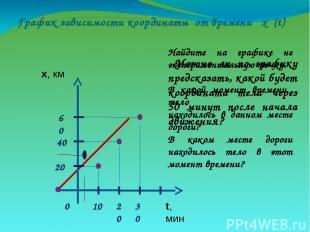 График зависимости координаты от времени х (t) Найдите на графике не эксперимент