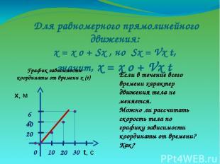 Для равномерного прямолинейного движения: х = х о + Sx , но Sx = Vx t, значит, х
