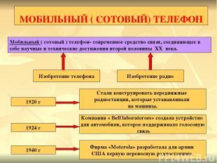 МОБИЛЬНЫЙ ( СОТОВЫЙ) ТЕЛЕФОН Мобильный ( сотовый ) телефон- современное средство