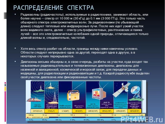 РАСПРЕДЕЛЕНИЕ СПЕКТРА Радиоволны (радиочастоты), используемые в радиотехнике, занимают область, или более научно – спектр от 10 000 м (30 кГц) до 0.1 мм (3 000 ГГц). Это только часть обширного спектра электромагнитных волн. За радиоволнами (по убыва…