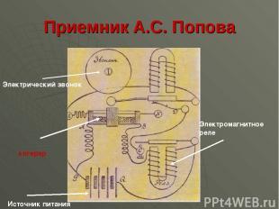Приемник А.С. Попова Электрический звонок когерер Электромагнитное реле Источник