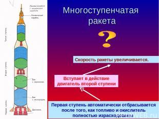 Многоступенчатая ракета Первая ступень автоматически отбрасывается после того, к