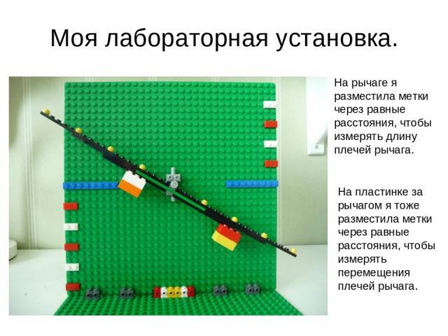 Моя лабораторная установка. На рычаге я разместила метки через равные расстояния, чтобы измерять длину плечей рычага. На пластинке за рычагом я тоже разместила метки через равные расстояния, чтобы измерять перемещения плечей рычага.