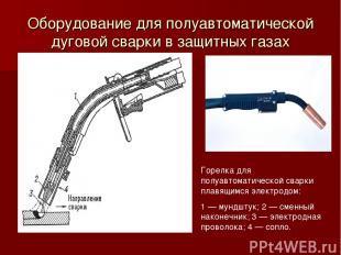 Оборудование для полуавтоматической дуговой сварки в защитных газах Горелка для