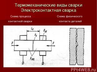 Термомеханические виды сварки Электроконтактная сварка Схема процесса Схема физи