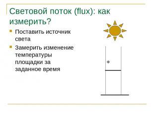 Световой поток (flux): как измерить? Поставить источник света Замерить изменение