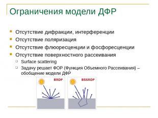 Ограничения модели ДФР Отсутствие дифракции, интерференции Отсутствие поляризаци