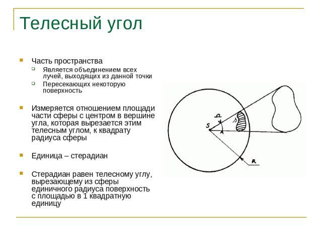 Телесный угол Часть пространства Является объединением всех лучей, выходящих из данной точки Пересекающих некоторую поверхность Измеряется отношением площади части сферы с центром в вершине угла, которая вырезается этим телесным углом, к квадрату ра…