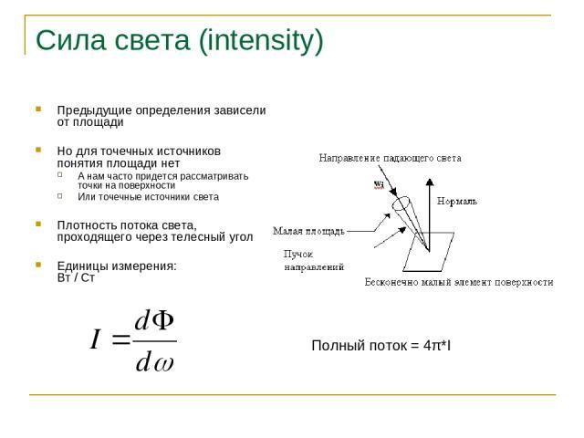 Сила света (intensity) Предыдущие определения зависели от площади Но для точечных источников понятия площади нет А нам часто придется рассматривать точки на поверхности Или точечные источники света Плотность потока света, проходящего через телесный …