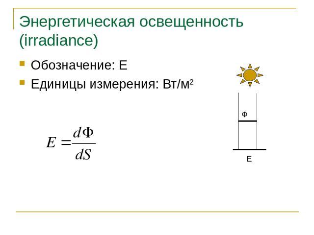 Энергетическая освещенность (irradiance) Обозначение: E Единицы измерения: Вт/м2 E Основы синтеза изображений
