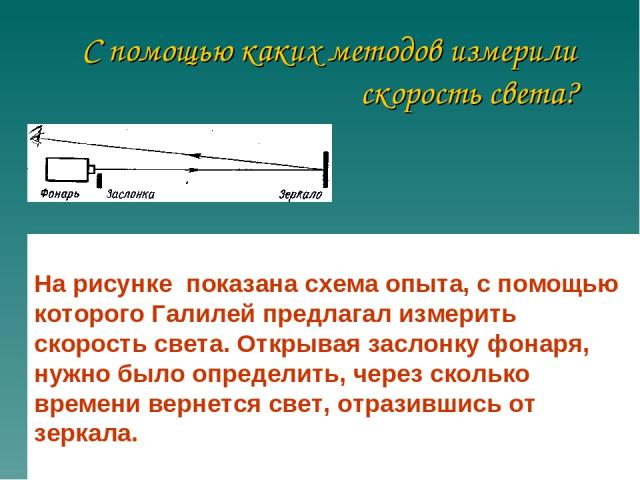 С помощью каких методов измерили скорость света? На рисунке показана схема опыта, с помощью которого Галилей предлагал измерить скорость света. Открывая заслонку фонаря, нужно было определить, через сколько времени вернется свет, отразившись от зеркала.