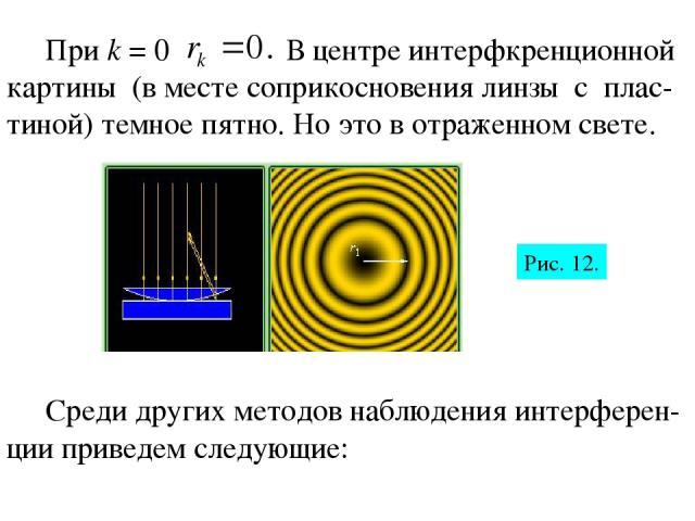 При k = 0 В центре интерфкренционной картины (в месте соприкосновения линзы с плас-тиной) темное пятно. Но это в отраженном свете. Среди других методов наблюдения интерферен-ции приведем следующие: Рис. 12.
