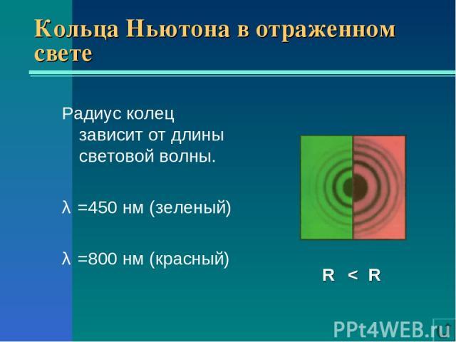 Кольца Ньютона в отраженном свете Радиус колец зависит от длины световой волны. λ₁=450 нм (зеленый) λ₂=800 нм (красный) R₁ < R₂