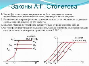 Законы А.Г. Столетова 1. Число фотоэлектронов, вырываемых за 1 с с поверхности к