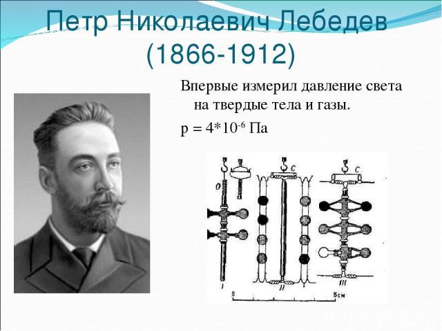 Петр Николаевич Лебедев (1866-1912) Впервые измерил давление света на твердые тела и газы. p = 4*10-6 Па