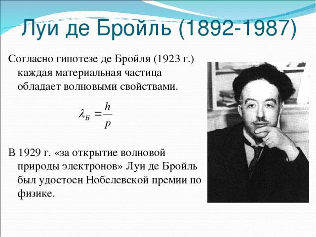 Луи де Бройль (1892-1987) Согласно гипотезе де Бройля (1923 г.) каждая материальная частица обладает волновыми свойствами. В 1929 г. «за открытие волновой природы электронов» Луи де Бройль был удостоен Нобелевской премии по физике.