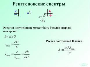 Рентгеновские спектры Энергия излучения не может быть больше энергии электрона.