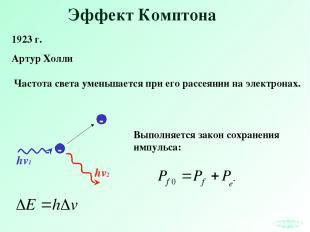Эффект Комптона 1923 г. Артур Холли hv2 Частота света уменьшается при его рассея