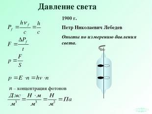 Давление света 1900 г. Петр Николаевич Лебедев Опыты по измерению давления света