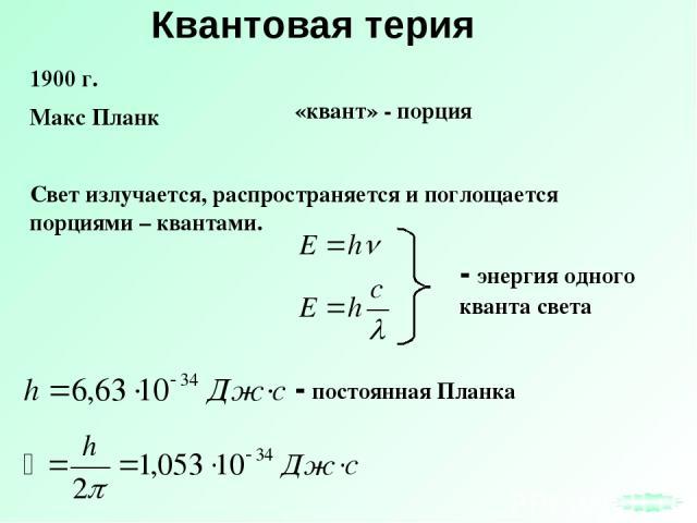 Квантовая терия Свет излучается, распространяется и поглощается порциями – квантами. - энергия одного кванта света 1900 г. Макс Планк «квант» - порция