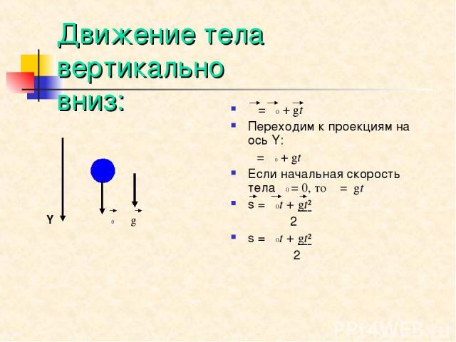 Движение тела вертикально вниз: Y υ0 g υ=υ0+gt Переходим к проекциям на ось Y: υ=υ0+gt Если начальная скорость тела υ0 = 0, то υ=gt s = υ0t + gt² 2 s = υ0t + gt² 2