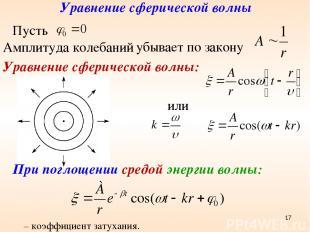 Уравнение сферической волны Амплитуда колебаний убывает по закону Уравнение сфер
