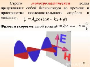 Строго монохроматическая волна представляет собой бесконечную во времени и прост