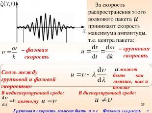 – фазовая скорость За скорость распространения этого волнового пакета принимают