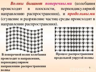 Волны бывают поперечными (колебания происходят в плоскости, перпендикулярной нап