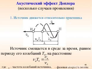 Акустический эффект Доплера (несколько случаев проявления) 1. Источник движется