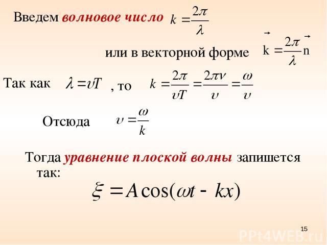 Введем волновое число или в векторной форме Так как , то Отсюда Тогда уравнение плоской волны запишется так: *