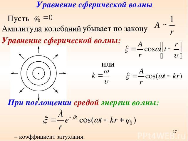 Уравнение сферической волны Амплитуда колебаний убывает по закону Уравнение сферической волны: или Пусть При поглощении средой энергии волны: β – коэффициент затухания. *