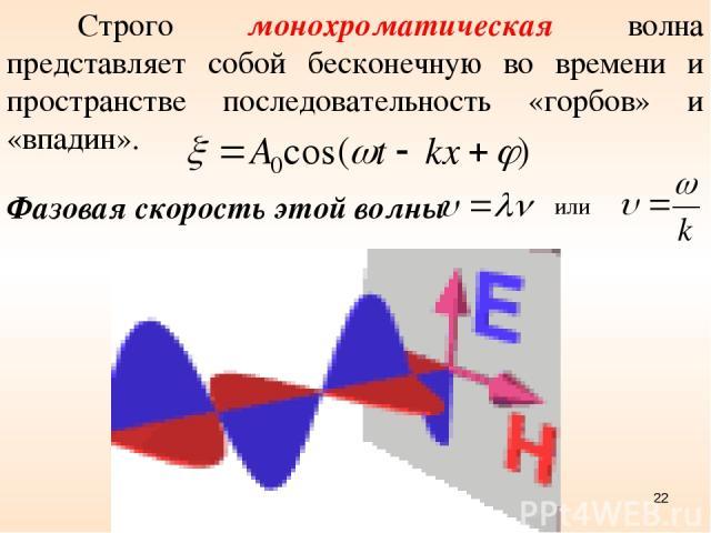 Строго монохроматическая волна представляет собой бесконечную во времени и пространстве последовательность «горбов» и «впадин». Фазовая скорость этой волны или *