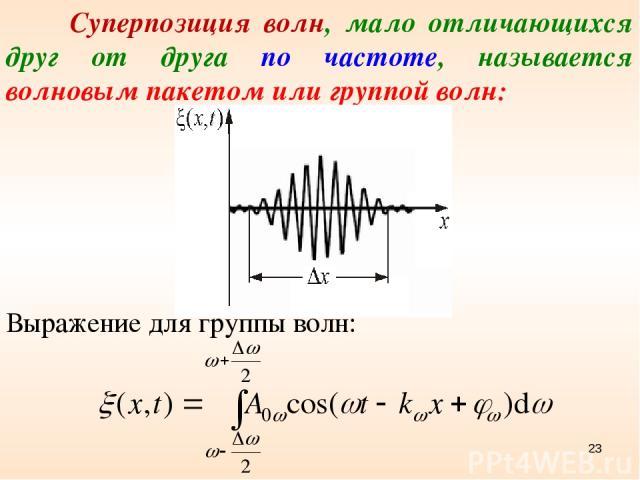 Суперпозиция волн, мало отличающихся друг от друга по частоте, называется волновым пакетом или группой волн: Выражение для группы волн: *