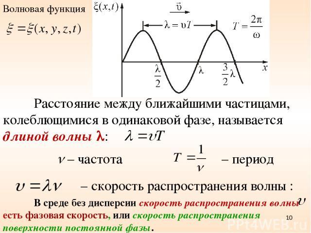 Расстояние между ближайшими частицами, колеблющимися в одинаковой фазе, называется длиной волны : – скорость распространения волны : – период – частота В среде без дисперсии скорость распространения волны есть фазовая скорость, или скорость распрост…
