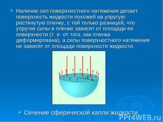 Наличие сил поверхностного натяжения делает поверхность жидкости похожей на упругую растянутую пленку, с той только разницей, что упругие силы в пленке зависят от площади ее поверхности (т. е. от того, как пленка деформирована), а силы поверхностног…