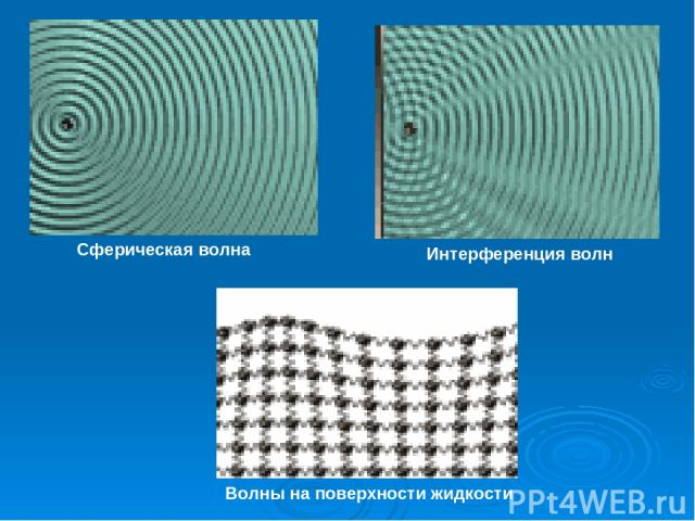 Сферическая волна Интерференция волн Волны на поверхности жидкости