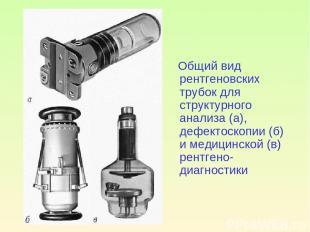 Общий вид рентгеновских трубок для структурного анализа (а), дефектоскопии (б) и