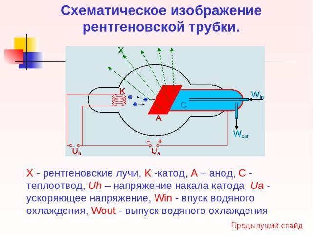 Схематическое изображение рентгеновской трубки. X - рентгеновские лучи, K -катод, А – анод, С - теплоотвод, Uh – напряжение накала катода, Ua - ускоряющее напряжение, Win - впуск водяного охлаждения, Wout - выпуск водяного охлаждения Предыдущий слайд