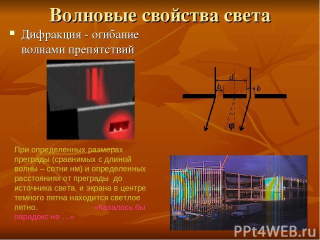 Волновые свойства света Дифракция - огибание волнами препятствий При определенных размерах преграды (сравнимых с длиной волны – сотни нм) и определенных расстояниях от преграды до источника света и экрана в центре темного пятна находится светлое пят…