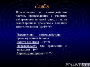 Слабое Ответственно за взаимодействие частиц, происходящих с участием нейтрино и