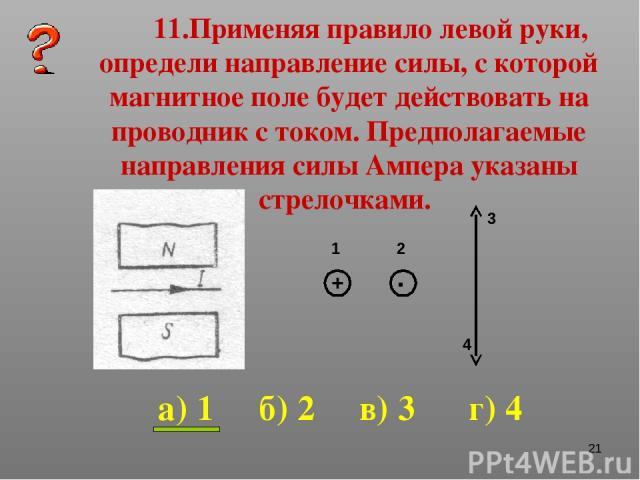 * 11.Применяя правило левой руки, определи направление силы, с которой магнитное поле будет действовать на проводник с током. Предполагаемые направления силы Ампера указаны стрелочками. 1 2 3 4 а) 1 б) 2 в) 3 г) 4 + .