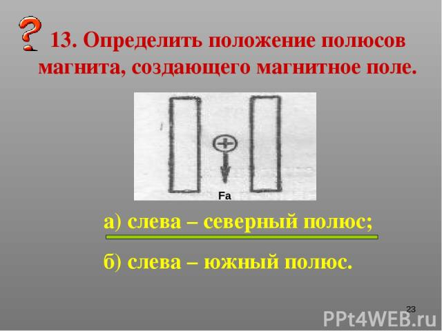* 13. Определить положение полюсов магнита, создающего магнитное поле. а) слева – северный полюс; б) слева – южный полюс. Fа