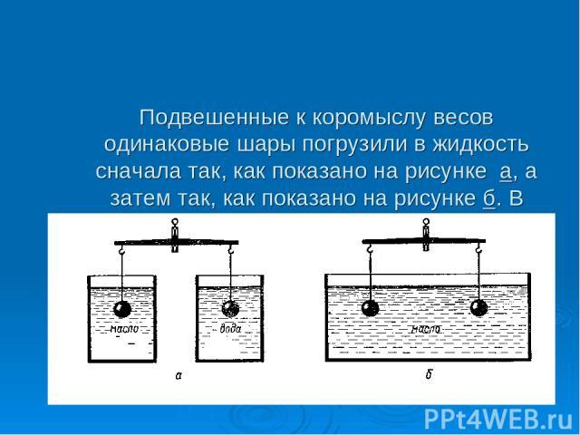 Подвешенные к коромыслу весов одинаковые шары погрузили в жидкость сначала так, как показано на рисунке а, а затем так, как показано на рисунке б. В каком случае равновесие весов нарушится? Почему?
