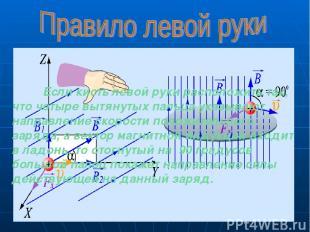 Если кисть левой руки расположить так, что четыре вытянутых пальца указывают нап