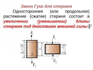 Закон Гука для стержня Одностороннее (или продольное) растяжение (сжатие) стержн