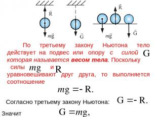 По третьему закону Ньютона тело действует на подвес или опору с силой которая на