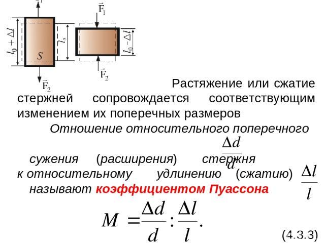 Растяжение или сжатие стержней сопровождается соответствующим изменением их поперечных размеров Отношение относительного поперечного сужения (расширения) стержня к относительному удлинению (сжатию) называют коэффициентом Пуассона (4.3.3)