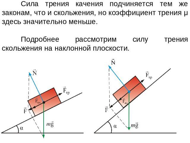 Сила трения качения подчиняется тем же законам, что и скольжения, но коэффициент трения μ здесь значительно меньше. Подробнее рассмотрим силу трения скольжения на наклонной плоскости.