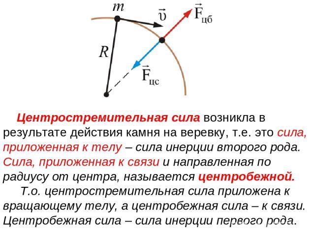 Центростремительная сила возникла в результате действия камня на веревку, т.е. это сила, приложенная к телу – сила инерции второго рода. Сила, приложенная к связи и направленная по радиусу от центра, называется центробежной. Т.о. центростремительная…